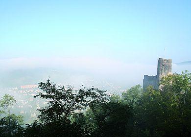 Aussicht auf die Burg Landshut in Bernkastel-Kues im morgendlichen Nebel.